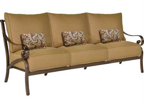 Castelle Veracruz Cushion Cast Aluminum Sofa with Three Kidney Pillows