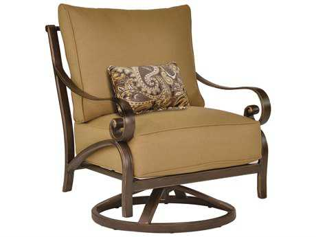 Castelle Veracruz Deep Seating Cast Aluminum High Back Lounge Swivel Rocker with One Kidney Pillow