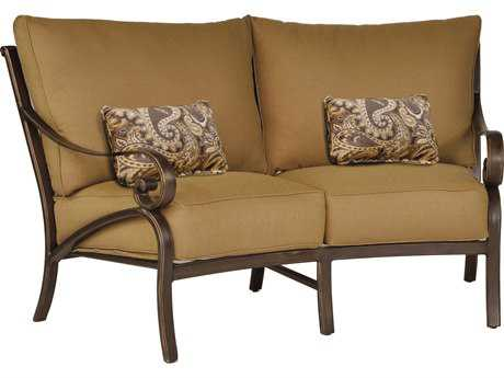 Castelle Veracruz Cushion Cast Aluminum Crescent Loveseat with Two Kidney Pillows