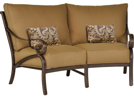 Castelle Veracruz Cushion Cast Aluminum Crescent Loveseat with Two Kidney Pillows
