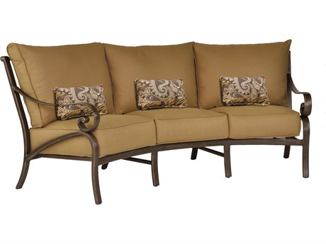 Castelle Veracruz Cushion Cast Aluminum Crescent Sofa with Three Kidney Pillows