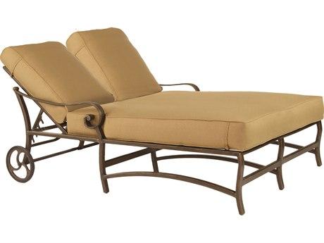 Castelle Veracruz Cushion Cast Aluminum Adjustable Double Chaise Lounge with Wheels