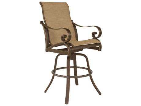 Castelle Veracruz Sling Cast Aluminum High Back Swivel Bar Stool