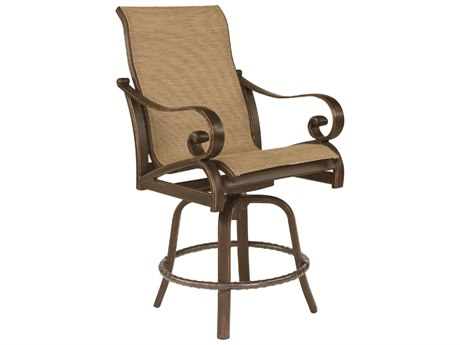 Castelle Veracruz Sling Cast Aluminum High Back Swivel Counter Stool
