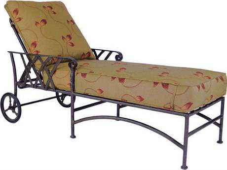 Castelle Veranda Cushion Cast Aluminum Adjustable Chaise Lounge with Wheels PatioLiving