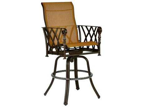 Castelle Veranda Sling Cast Aluminum High Back Swivel Bar Stool