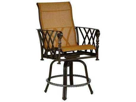 Castelle Veranda Sling Cast Aluminum High Back Swivel Counter Stool PatioLiving