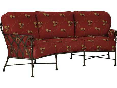 Castelle Veranda Deep Seating Cast Aluminum Crescent Sofa with Two Bolster Pillows PF4344T