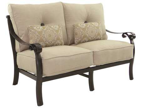 Castelle Bellanova Deep Seating Cast Aluminum Loveseat with Two Kidney Pillows PF5411T