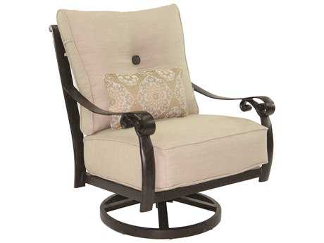 Castelle Bellanova Cushion Cast Aluminum High Back Lounge Swivel Rocker with One Kidney Pillow