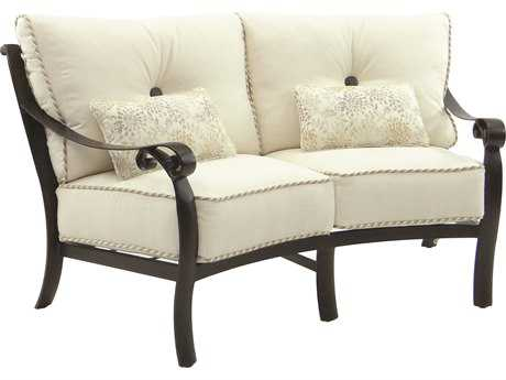 Castelle Bellanova Deep Seating Cast Aluminum Crescent Loveseat with Two Kidney Pillows