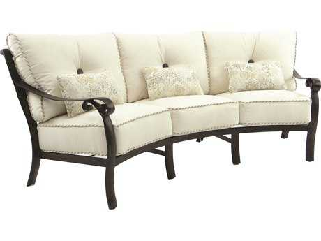 Castelle Bellanova Deep Seating Cast Aluminum Crescent Sofa with Three Kidney Pillows