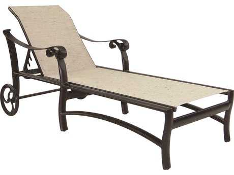 Castelle Bellanova Sling Cast Aluminum Adjustable Chaise Lounge with Wheels