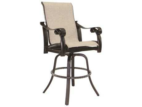 Castelle Bellanova Sling Cast Aluminum High Back Swivel Bar Stool
