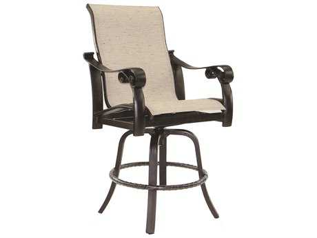 Castelle Bellanova Sling Cast Aluminum High Back Swivel Counter Stool