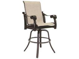 Bellanova Sling Cast Aluminum High Back Swivel Bar Stool