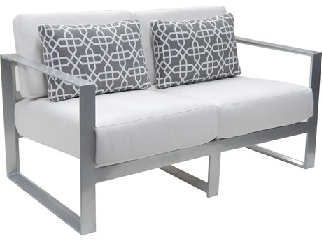 Castelle Legacy Deep Seating Aluminum Cushion Loveseat with Two Pillows