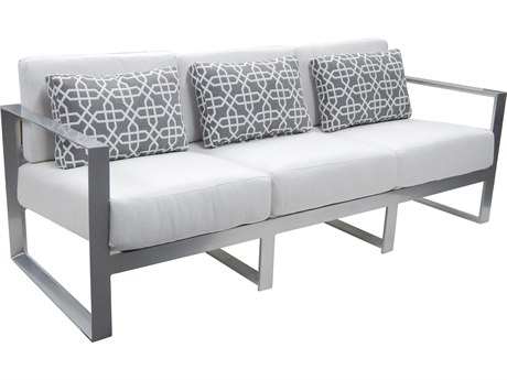 Castelle Legacy Deep Seating Aluminum Cushion Sofa with Three Pillows PF5714R