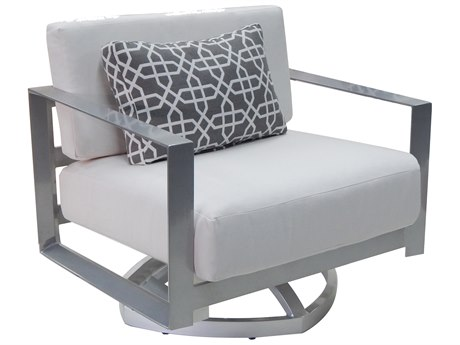 Castelle Legacy Deep Seating Aluminum Cushion Lounge Swivel Rocker with One Pillow