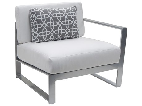 Castelle Legacy Sectional Aluminum Cushion Left Arm Lounge Unit with One Pillow