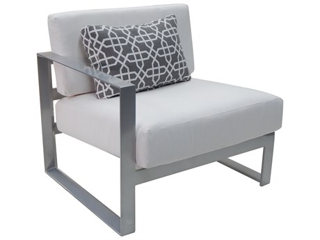 Castelle Legacy Sectional Aluminum Cushion Right Arm Lounge Unit with One Pillow
