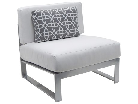 Castelle Legacy Sectional Aluminum Cushion Armless Lounge Unit with One Pillow