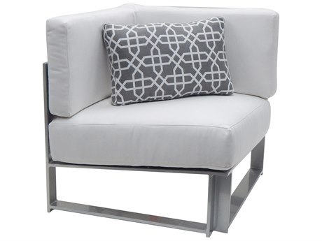 Castelle Legacy Sectional Aluminum Cushion Square Corner Unit with One Pillow