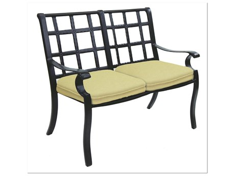 Castelle Monterey Cast Aluminum Settee with Two Loose Seat Cushions
