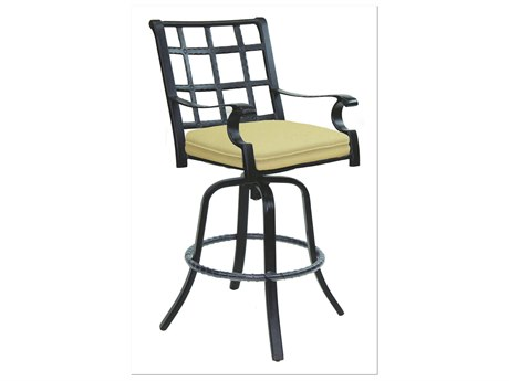 Castelle Monterey Cast Aluminum Swivel Bar Stool with Loose Seat Cushion