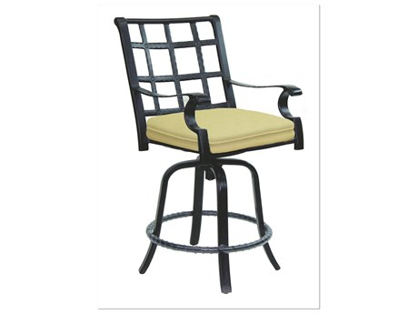 Castelle Monterey Cast Aluminum Swivel Counter Stool with Loose Seat Cushion