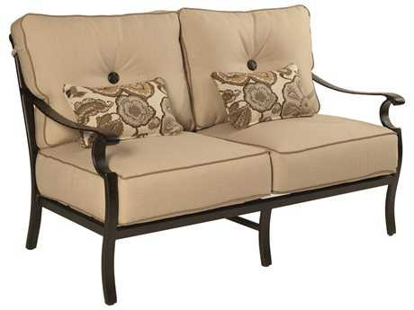 Castelle Monterey Deep Seating Cast Aluminum Loveseat with Two Accent Pillows