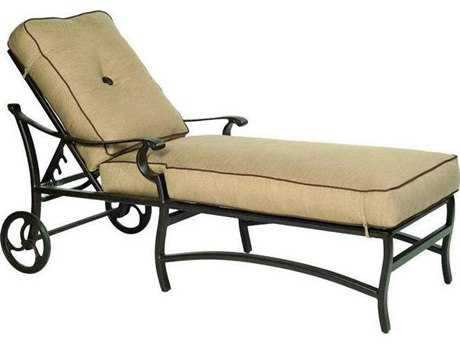 Castelle Monterey Cushion Cast Aluminum Adjustable Chaise Lounge with Wheels