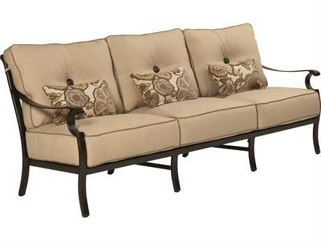 Castelle Monterey Deep Seating Cast Aluminum Sofa with Three Kidney Pillows PF5814T