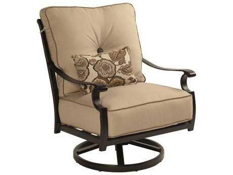 Castelle Monterey Deep Seating Cast Aluminum High Back Lounge Swivel Rocker with One Kidney Pillow