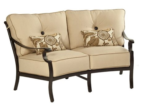Castelle Monterey Deep Seating Cast Aluminum Crescent Loveseat with Two Kidney Pillows PatioLiving