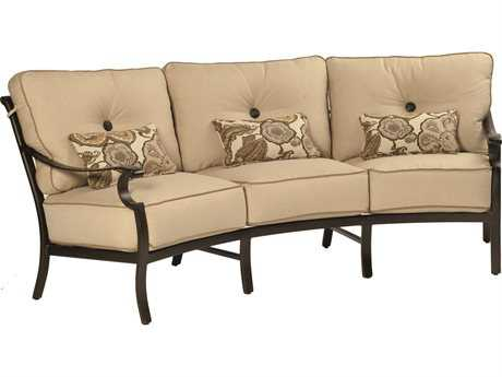 Castelle Monterey Deep Seating Cast Aluminum Crescent Sofa with Three Kidney Pillows PF5844T