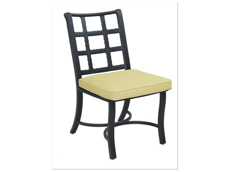 Castelle Monterey Cast Aluminum Armless Dining Chair with Loose Seat Cushion