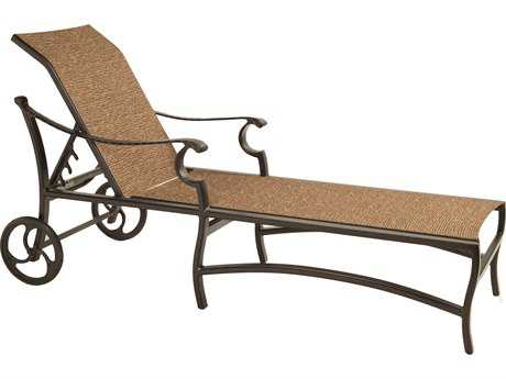 Castelle Monterey Sling Cast Aluminum Adjustable Chaise Lounge with Wheels