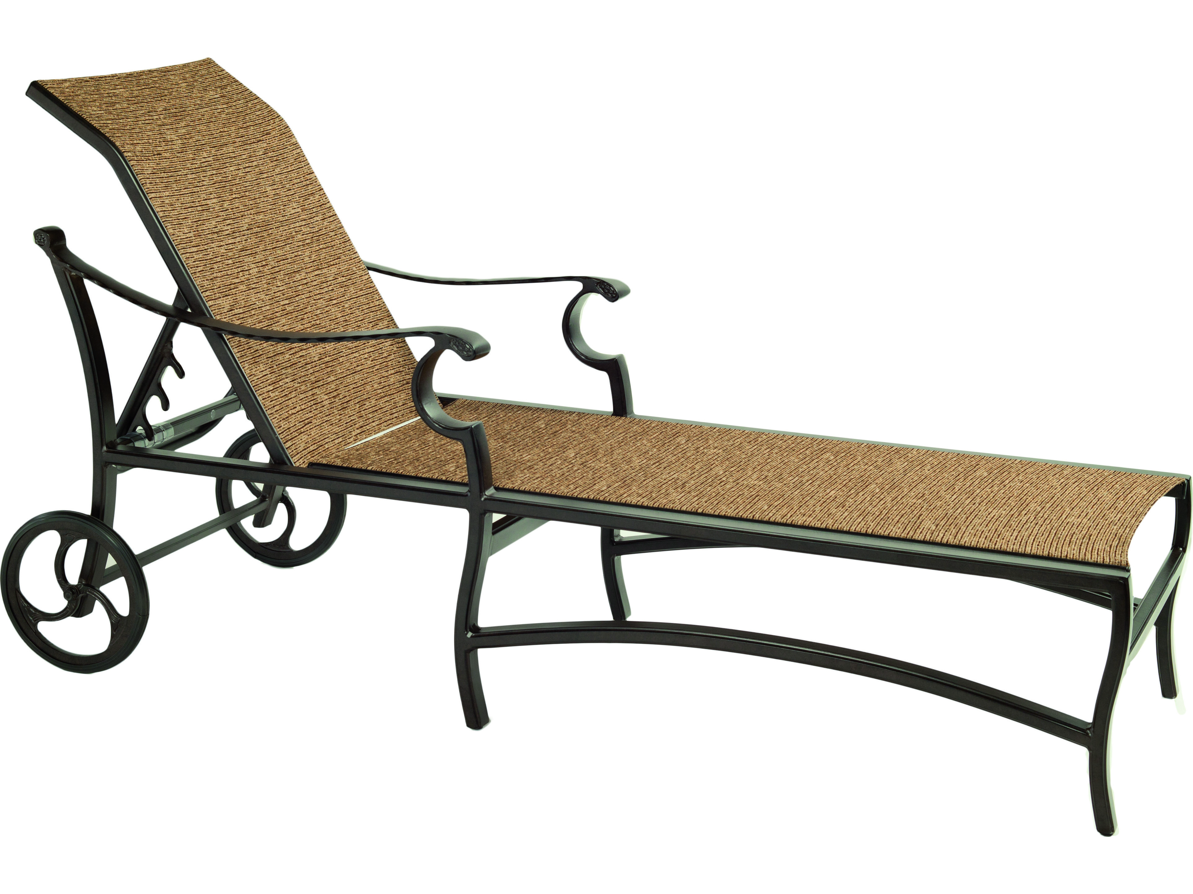 Castelle monterey sling cast aluminum adjustable chaise for Aluminum chaise lounge with wheels