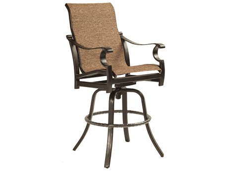 Castelle Monterey Sling Cast Aluminum High Back Swivel Bar Stool