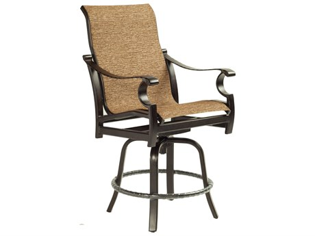 Castelle Monterey Sling Cast Aluminum High Back Swivel Counter Stool