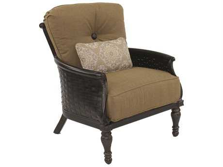 Castelle English Garden Deep Seating Cast Aluminum Lounge Chair with One Kidney Pillow