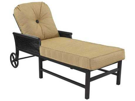 Castelle English Garden Cushion Cast Aluminum Adjustable Chaise Lounge with Wheels
