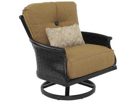 Castelle English Garden Deep Seating Cast Aluminum Lounge Swivel Rocker with One Kidney Pillow
