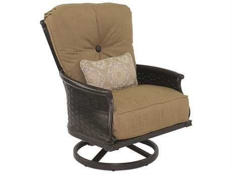 Castelle English Garden Deep Seating Cast Aluminum High Back Lounge Swivel Rocker with One Kidney Pillow