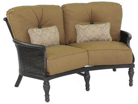 Castelle English Garden Deep Seating Cast Aluminum Crescent Loveseat with Two Kidney Pillows