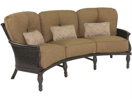 Castelle English Garden Deep Seating Cast Aluminum Crescent Sofa with Three Kidney Pillows