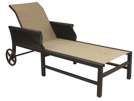 Castelle English Garden Sling Cast Aluminum Adjustable Chaise Lounge with Wheels
