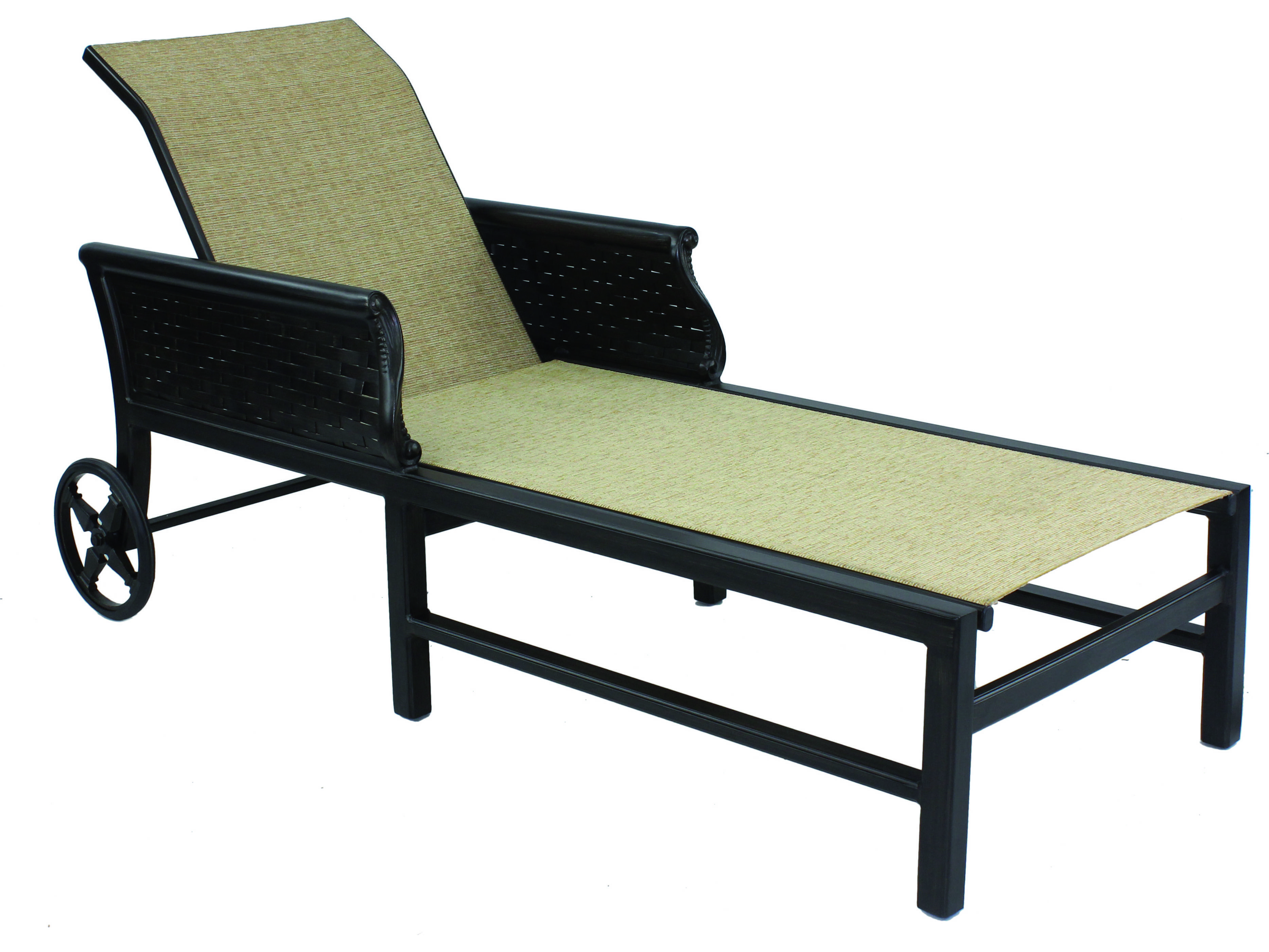 Castelle english garden sling cast aluminum adjustable for Aluminum chaise lounge with wheels