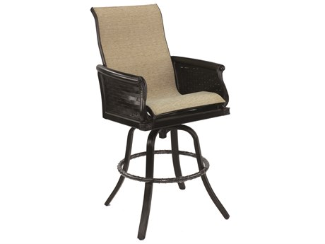Castelle English Garden Sling Cast Aluminum High Back Swivel Bar Stool
